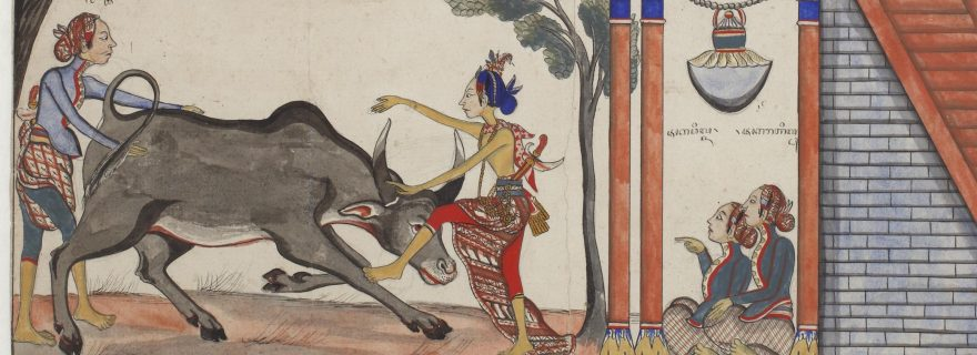 Raden Jaka Tingkir killing a buffalo under watch of the Sultan of Demak